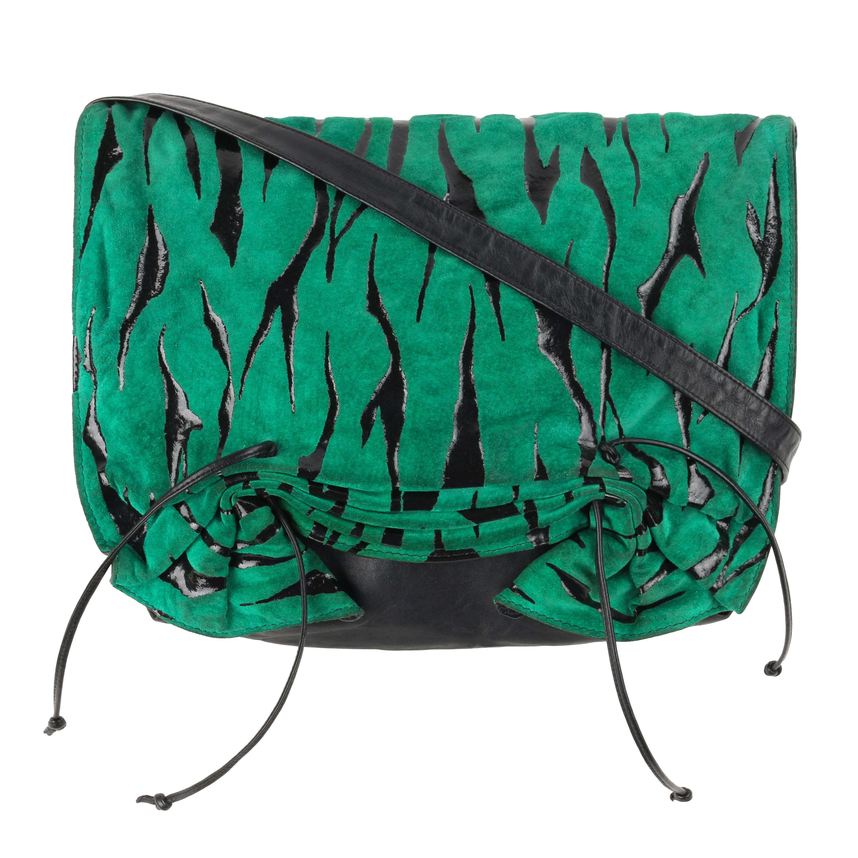 CARLOS FALCHI c.1980's Green Tiger Stripe Suede Leather Pleated Crossbody Bag