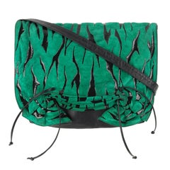 CARLOS FALCHI c.1980's Green Tiger Stripe Suede Leather Pleated Crossbody Bag