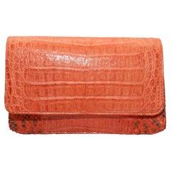 Carlos Falchi Orange Alligator & Snakeskin Clutch