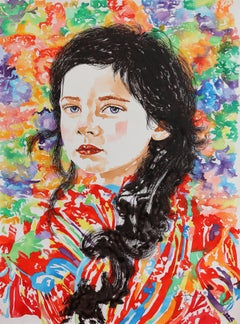 Portrait of a Young Girl, Bright Watercolor Painting, Multicolored Background