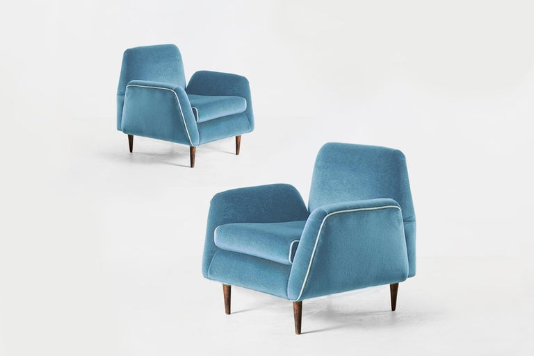 Brazilian Carlos Hauner & Martin Eisler Blue Velvet Pair of Armchairs, Brazil, 1955 For Sale