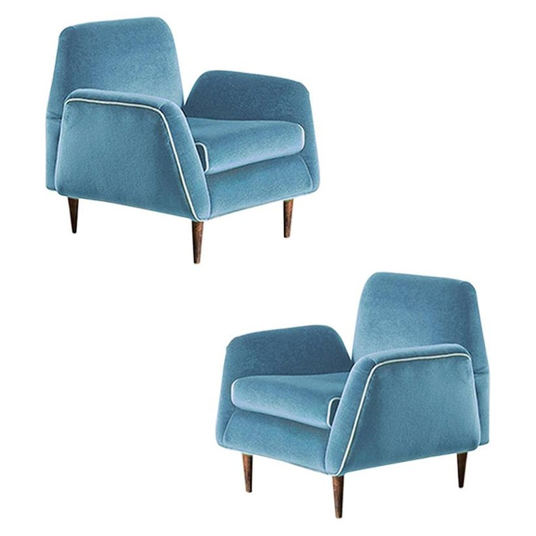 Carlos Hauner & Martin Eisler Blue Velvet Pair of Armchairs, Brazil, 1955 For Sale