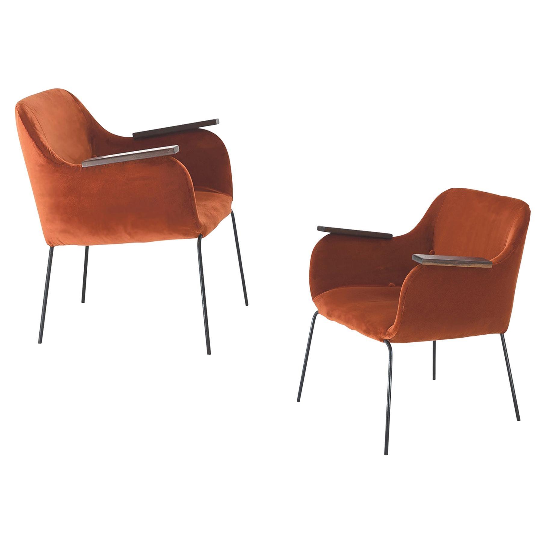 Carlos Hauner & Martin Eisler Pair of Armchairs, Orange Velvet, Brazil, 1950