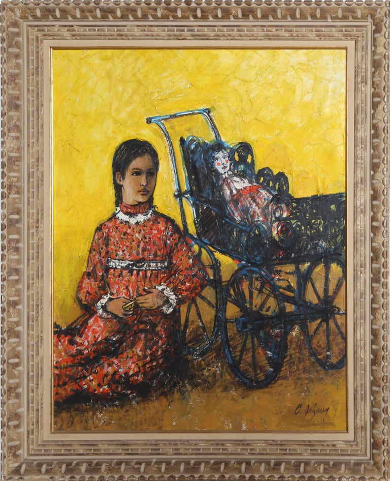 Carlos Irizarry Figurative Painting - Child with Doll and Buggy