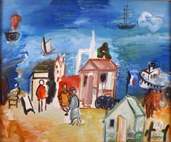 """Bord de Mer"", 20th Century oil on canvas by Spanish artist Carlos Nadal"