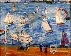 """Fête Nautique"", 20th Century oil on canvas by Spanish artist Carlos Nadal"