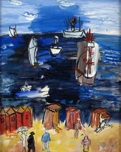"""La Mer"",20th Century oil on paper laid on canvas by Spanish artist Carlos Nadal"