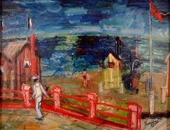 """Playa 50"", 20th Century Oil on Canvas depicting a Beach Scene by Carlos Nadal"