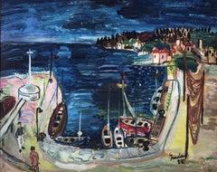 Spanish Leisure port original oil on board painting