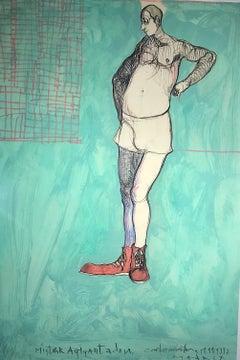 Blue Teal Figurative Painting by Cuban Artist Carlos Quintana