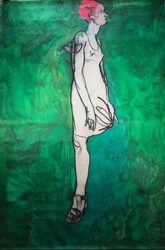Large Green Figurative Painting by Cuban Artist Carlos Quintana