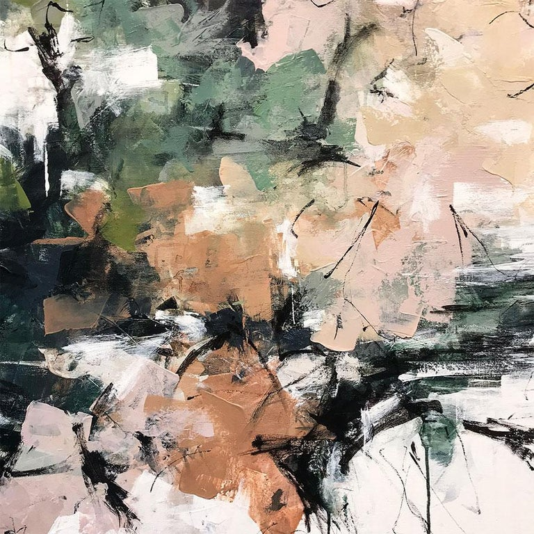 Cherry Blossoms in Central Park - Gray Abstract Painting by Carlos Ramirez