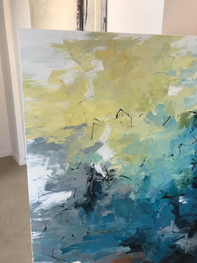 Reef Dive in Key Largo - Gray Abstract Painting by Carlos Ramirez