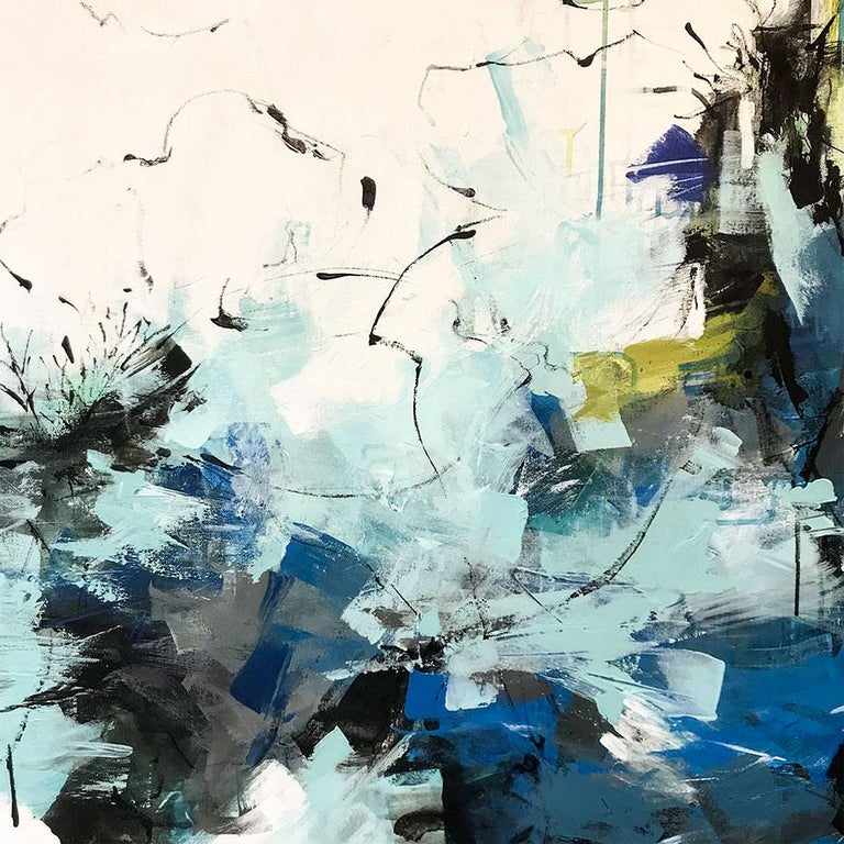 The Lily Pond - Gray Abstract Painting by Carlos Ramirez