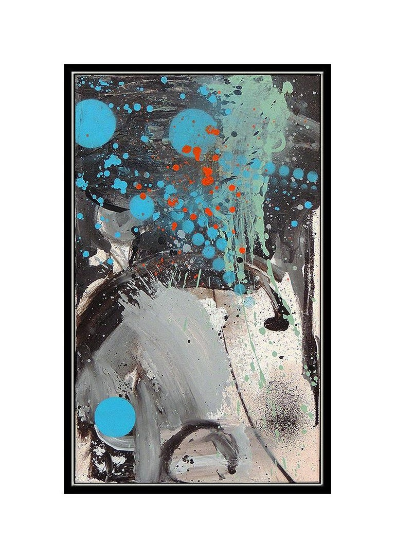 Carlos Rolon Dzine Large Original Oil Painting On Canvas Modern Abstract Artwork - Gray Abstract Painting by DZINE (Carlos Rolon)