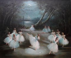 Giselle Act II - Alicia Marlova - ballet scene oil painting female artist