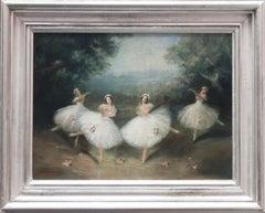 Pas de Quatre Ballet - British 1950's art ballerinas dance portrait oil painting