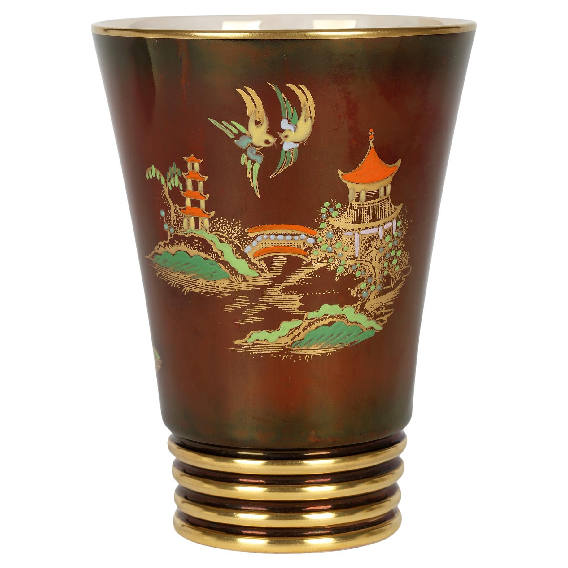 Carlton Ware Art Deco Rouge Royal Lustre Mikado Pattern Pottery Vase