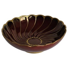 Carlton Ware Bowl Hand Painted in Flambe Lustre Rouge Royale Pattern, circa 1950