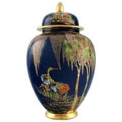 Carlton Ware, England, Large Lidded Jar in Hand Painted Porcelain, 1950s