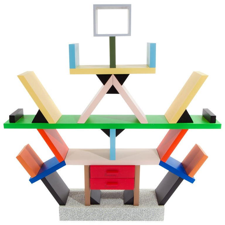 Carlton Wood Miniature Bookcase, by Ettore Sottsass from Memphis Milano For Sale