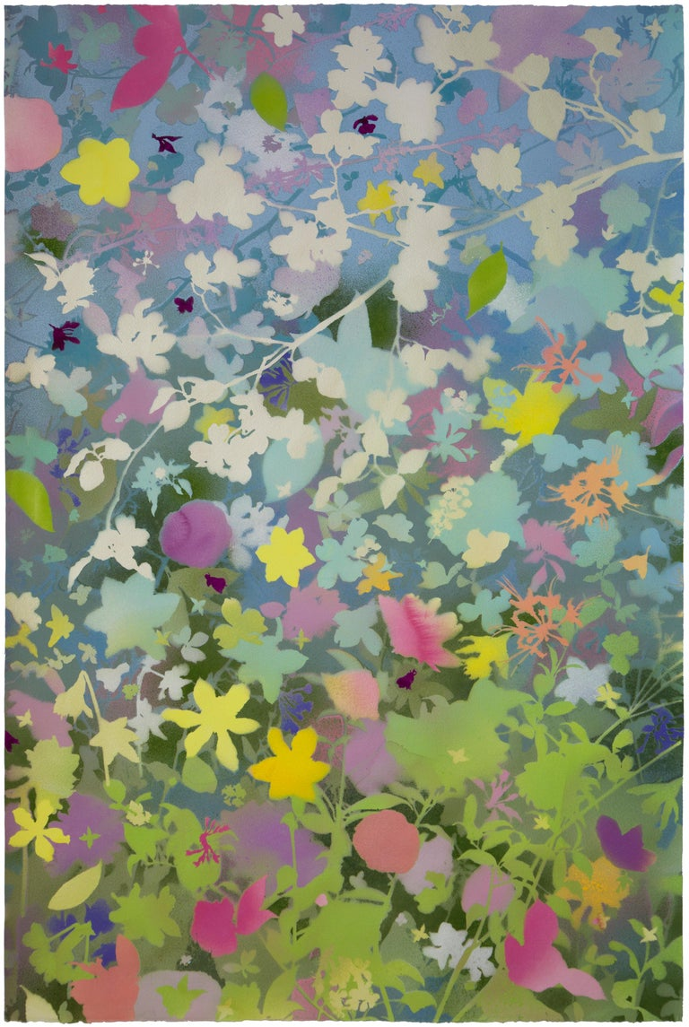 Carlyle Wolfe Lee Abstract Painting - 'Spring Garden III - Dogwood' - naturalist landscape - colorful - Claude Monet