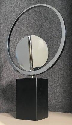 Circolar Loop Mid-Century Abstract Geometric Nickeled Bronze Italian Sculpture