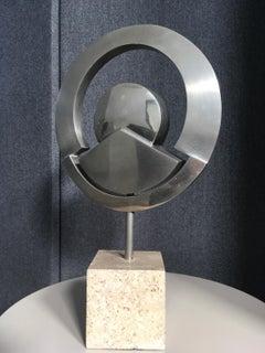 Circular Mid-Century Nickeled Bronze Italian Modern Geometric Abstract Sculpture