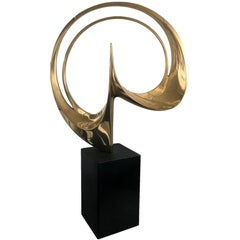 Stopped rounded sphere Carmelo Cappello Abstract Bronze Gold Polished Sculpture