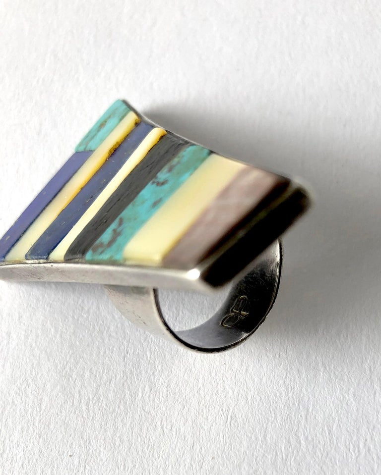 Native American Carmelo Patania Sterling Silver Turquoise Lapis Ebony Wood Shell Southwest Ring For Sale