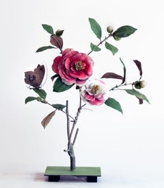 Two Tone Camellia with Owl Moth