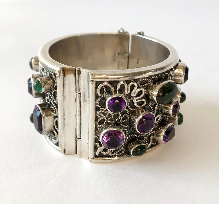 Carmen Beckmann Sterling Silver Amethyst Gemstone Mexican Modern Hinged Bracelet In Good Condition For Sale In Los Angeles, CA