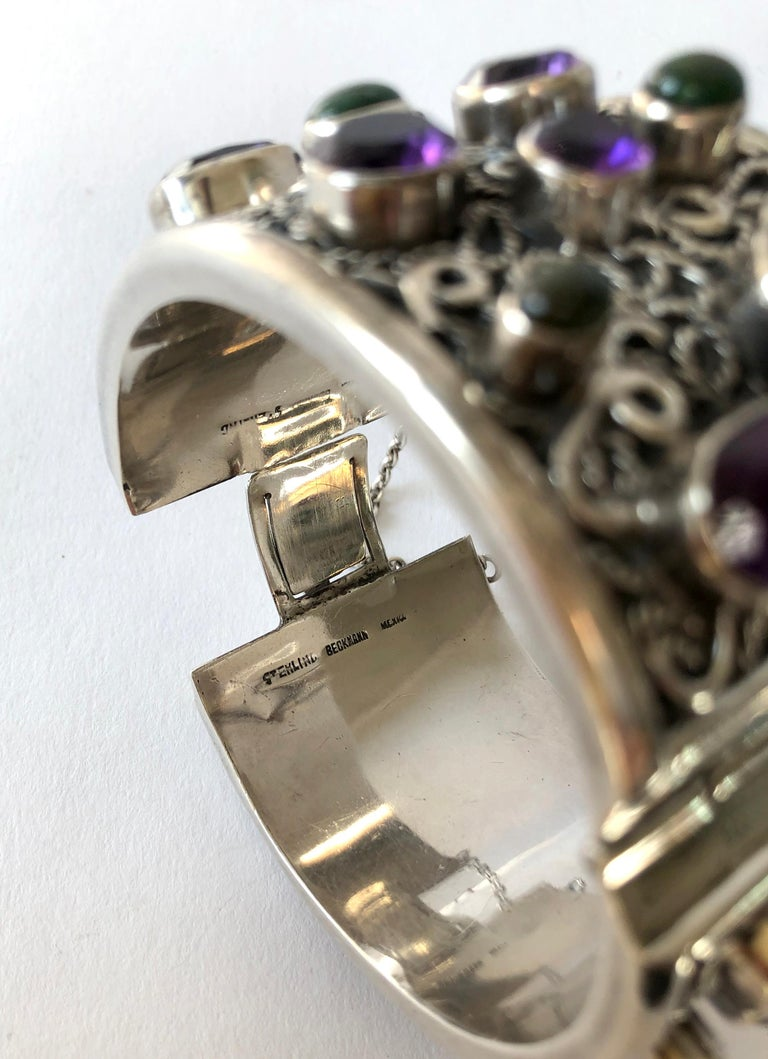Carmen Beckmann Sterling Silver Amethyst Gemstone Mexican Modern Hinged Bracelet For Sale 1