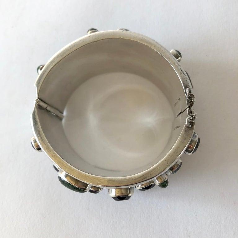 Carmen Beckmann Sterling Silver Amethyst Gemstone Mexican Modern Hinged Bracelet For Sale 2