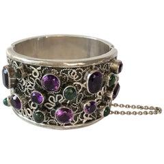 Carmen Beckmann Sterling Silver Amethyst Gemstone Mexican Modern Hinged Bracelet