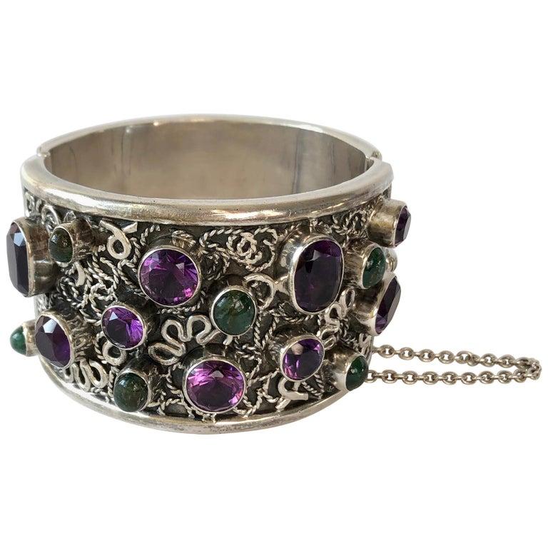 Carmen Beckmann Sterling Silver Amethyst Gemstone Mexican Modern Hinged Bracelet For Sale