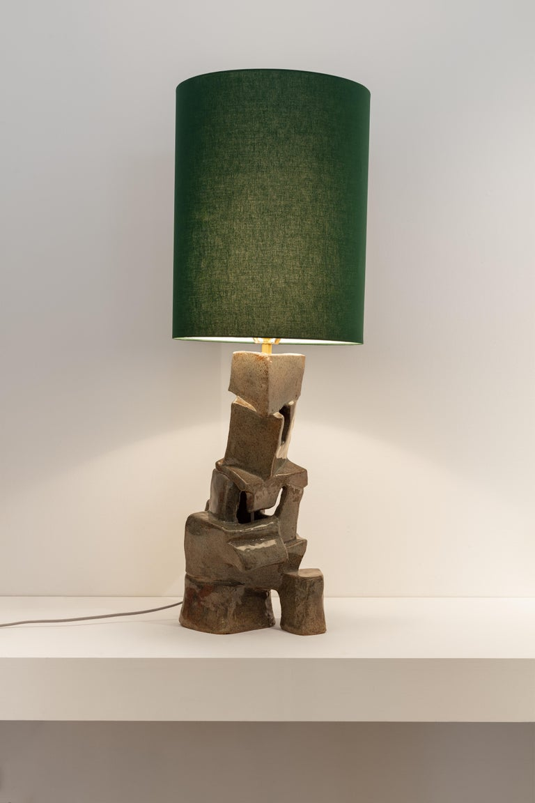 Swiss Carmen D'apollonio, Lean on Me, Lamp, Green, Ceramic, Cotton Shade, 2019 For Sale