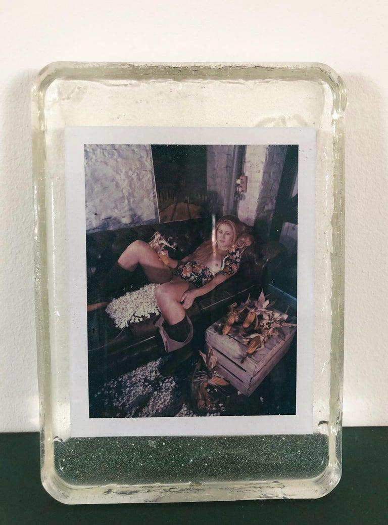 Corn Fest - Unique piece - Original Polaroid, Women, Contemporary, Nude - Black Figurative Photograph by Carmen de Vos