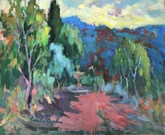 Garden with fountain spanish landscape oil on canvas painting