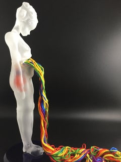 2020 - surreal flame-worked glass sculpture with female figure and fiber art