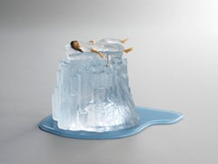 MELT - flame-worked glass sculpture with sleeping woman and iceberg