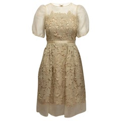 Carmen Marc Valvo Beige & Gold Short Sleeve Dress