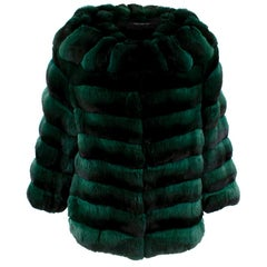 Carmen Marc Valvo Couture Emerald Green Chinchilla Fur Jacket