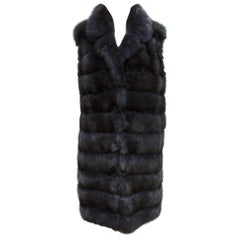 Carmen Marc Valvo Navy Blue Sable Fur Vest