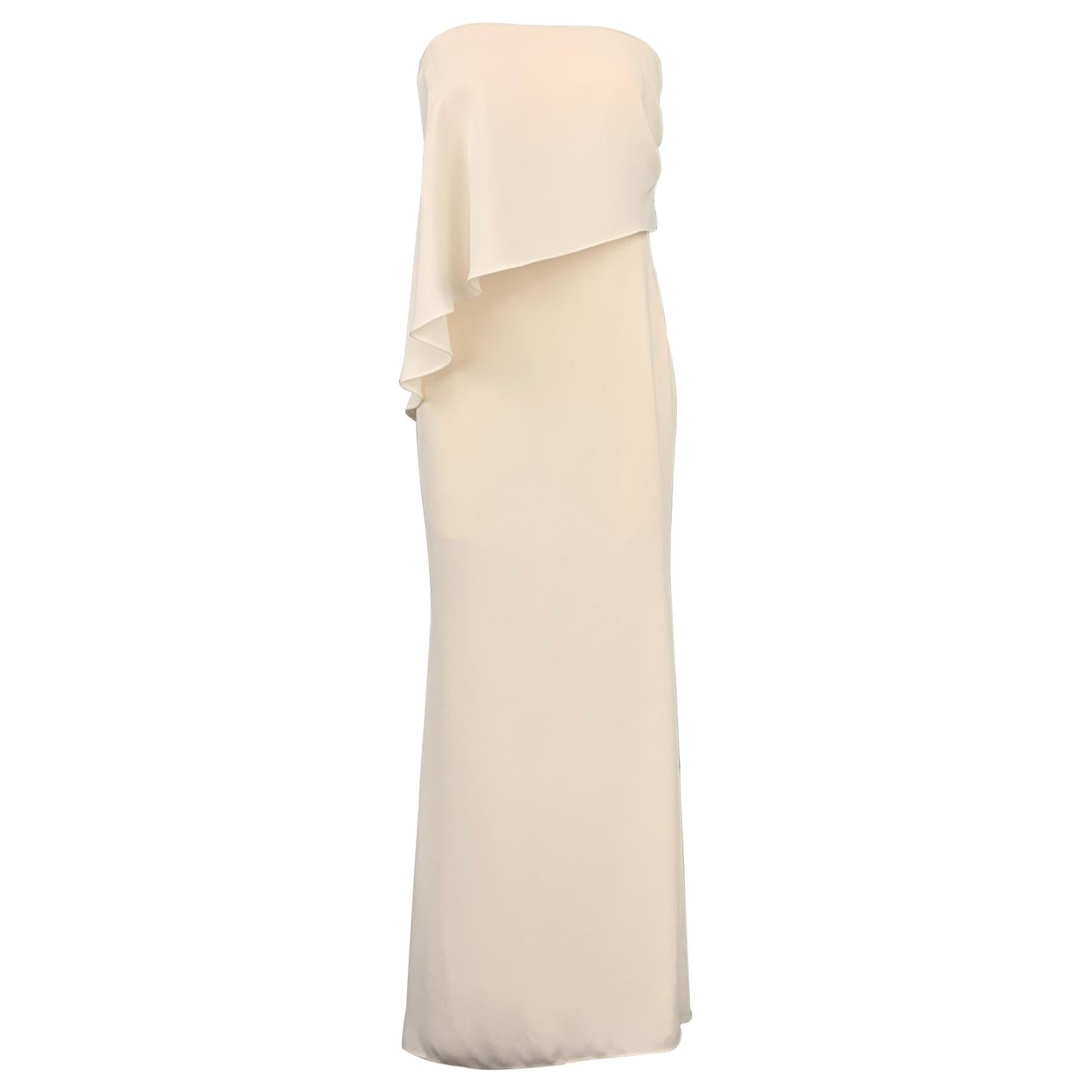 CARMEN MARC VALVO Size 2 Cream Polyester One Shoulder Column Gown
