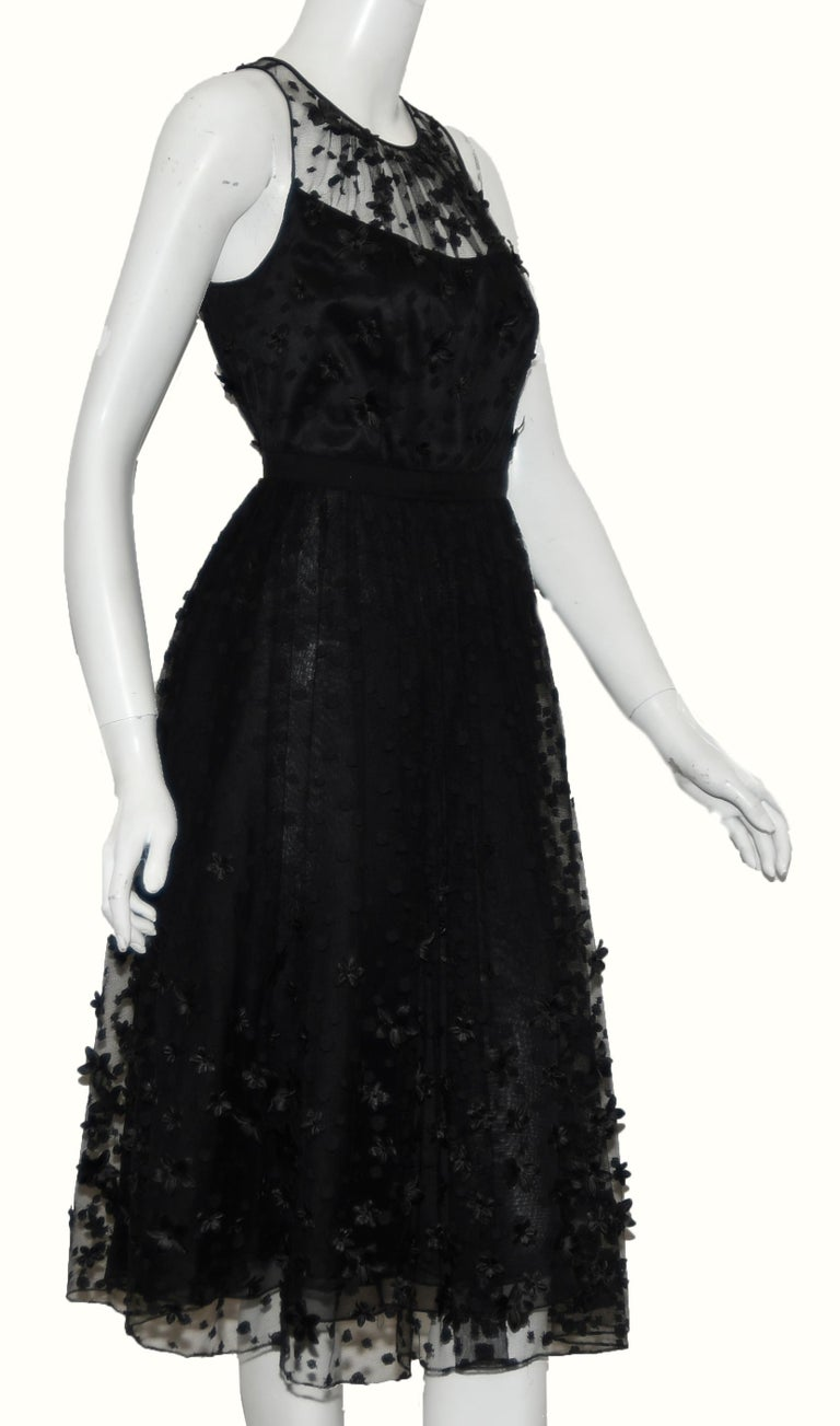 Women's Carmen Mark Valvo Black Tulle with Embroidered Details with 3D Appliques For Sale