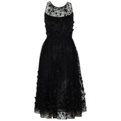 Carmen Mark Valvo Black Tulle with Embroidered Details with 3D Appliques