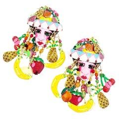 Carmen Miranda Themed Enamel Dangle Earrings By Lunch At The Ritz, 1980s