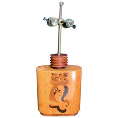 """Carmen Miranda,"" Unique Art Deco Table Lamp with Inlaid Wood by Szoeke"