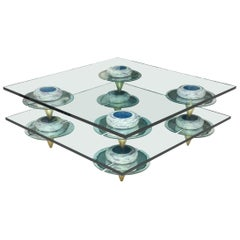 Carmen Spera Square Glass, Wood and Antique Mirror Cocktail Table One of a Kind